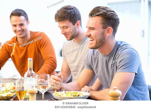 Shot of three attractive men eating lunch at home