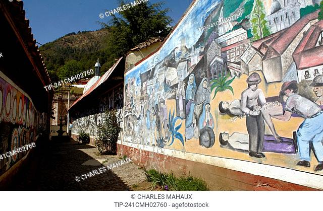America, Mexico, Michoacán state, Angangueo village, mural painting