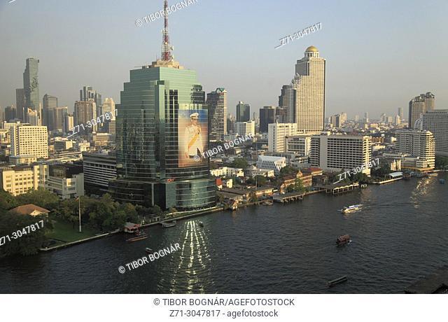 Thailand; Bangkok; skyline, Chao Phraya River, aerial view,