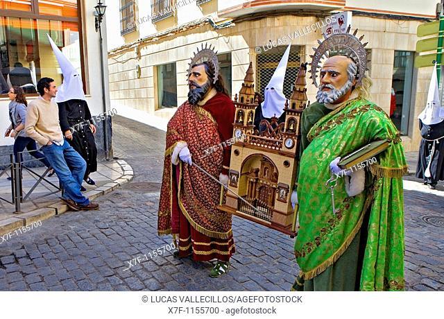 `Figuras' , penitents and spectators Holy Week  Easter Sunday Puente Genil  Córdoba province  Spain
