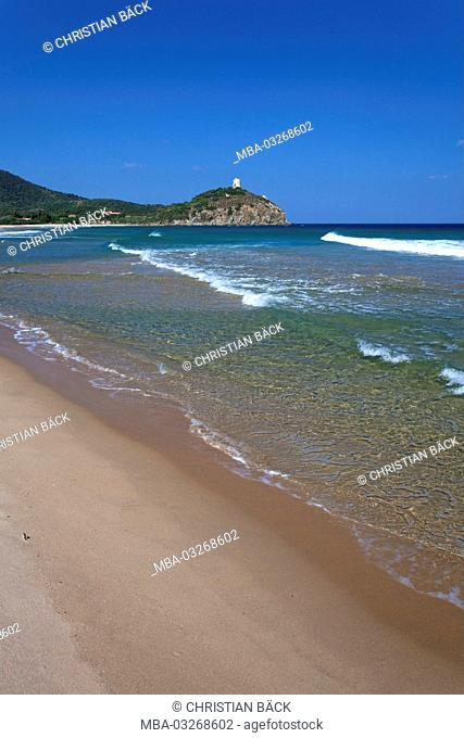 Italy, Sardinia, south Sardinia, south coast, Chia, Baia Chia, Torre di Chia, Spiaggia, Costa del Sud