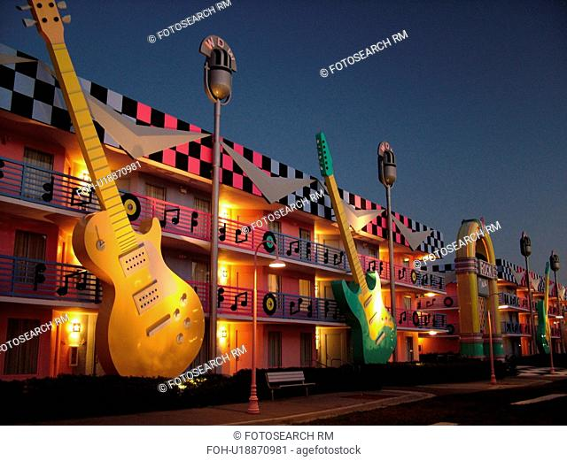 Orlando, FL, Florida, Lake Buena Vista, Disney's All-Star Music Resort, evening, giant guitars