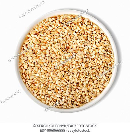 White sesame in plate isolated on white background