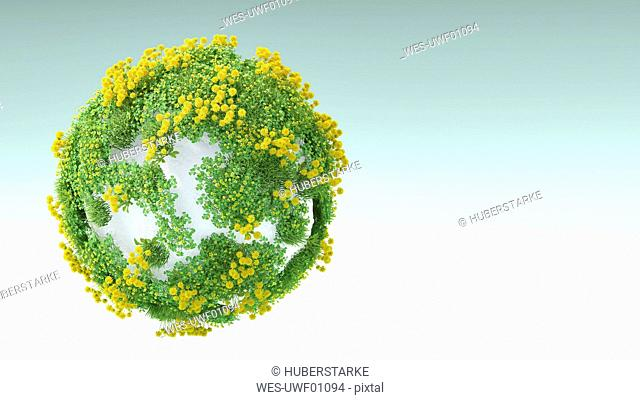 3D rendering, Grass and flowers growing on white rock
