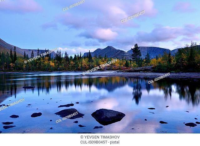 View of Polygonal Lakes at dusk, Khibiny mountains, Kola Peninsula, Russia
