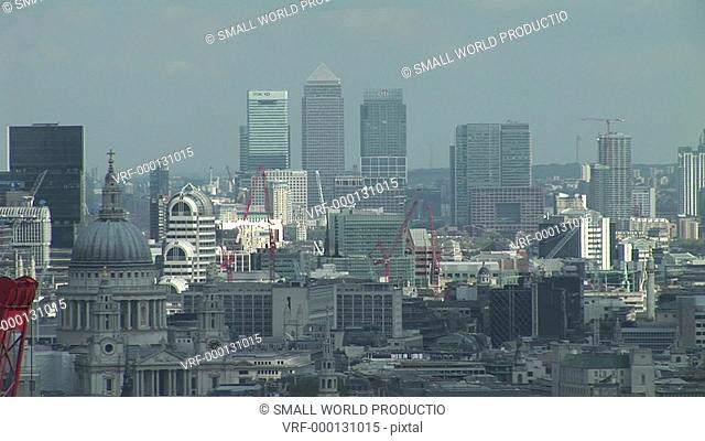 View over City of London including St Paul's cathrdral. UK. June 2007