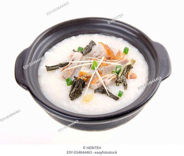 Porridge, pork Porridge (congee) served in claypot