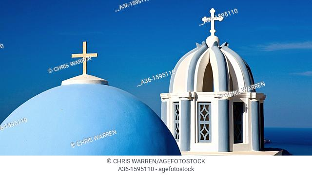 Church Dome and Bell Tower Firostefani Santorini Cyclades Islands Greece