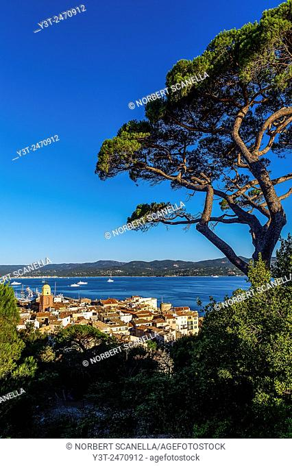 Europe, France, Var, Saint-Tropez. The village and the Gulf of Saint-Tropez
