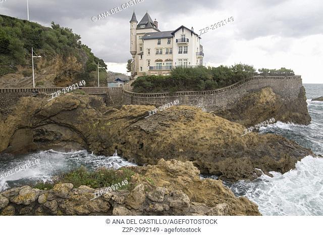 Basque coast in Biarritz France Cote des Vasque Villa Belza palace