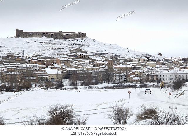 Cedrillas village in snow Teruel Aragon Spain