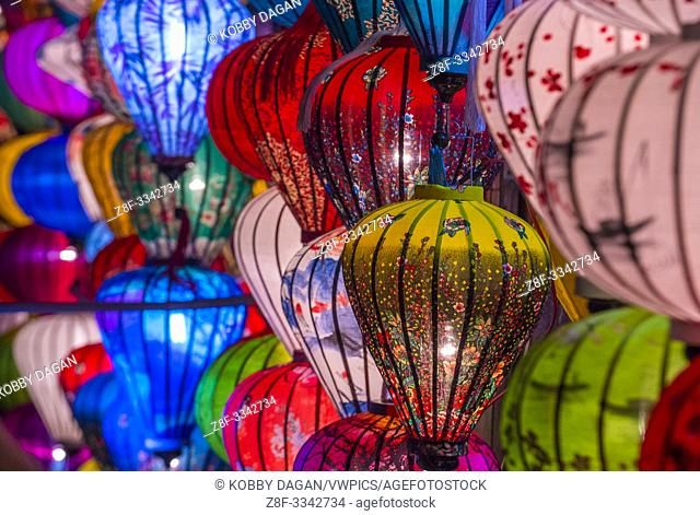 Paper lanterns lighted up on the streets of Hoi An ,Vietnam during the Hoi An Full Moon Lantern Festival