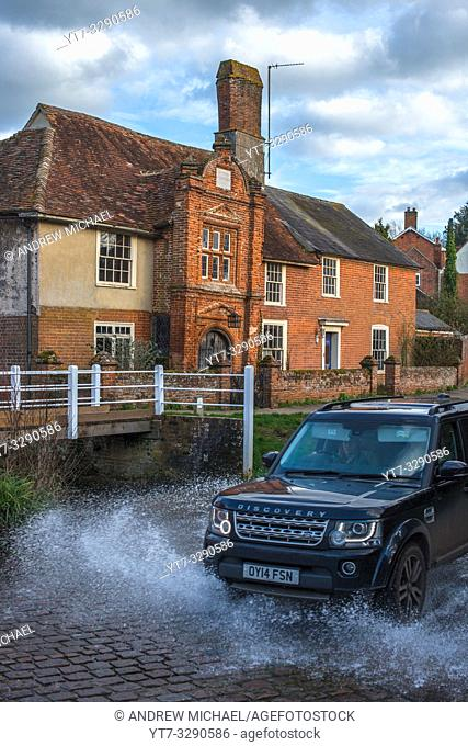 River Box Ford in front of Fifteenth century Ye Olde River House from 1490, in Kersey village, Suffolk, East Anglia, England, UK