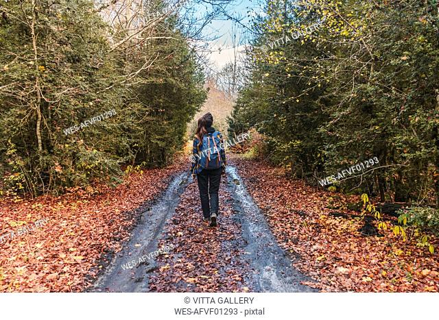 Spain, Ordesa y Monte Perdido National Park, back view of woman with backpack in autumn