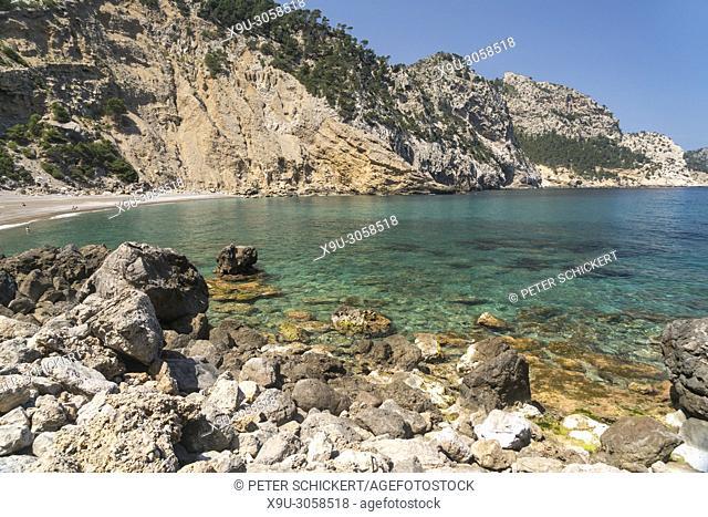 Platja des Coll Baix beach and bay, Alcudia, Victoria peninsula, Majorca, Balearic Islands, Spain,