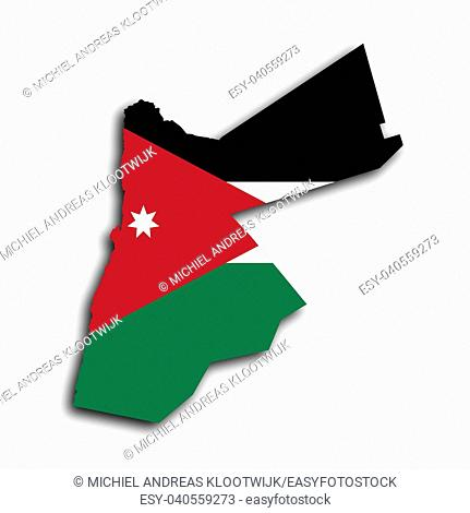 Country shape outlined and filled with the flag, Jordan
