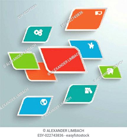 Colored Bevel Rectangles Abstract Infographic PiAd