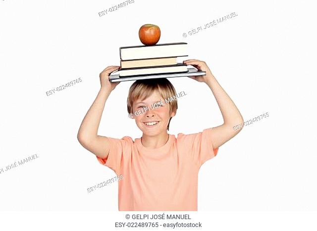 Smiling boy with books and a apple oh his head