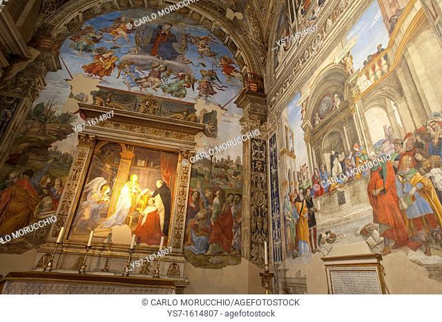 The Carafa Chapel painted by Filippino Lippi in the Basilica of Saint Mary Above Minerva, Rome, Lazio, Italy, Europe