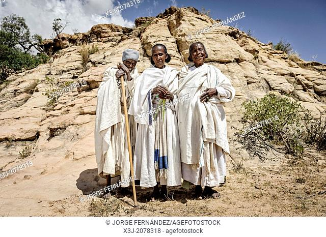 Three old women celebrating Orthodox Easter, Tigray, Ethiopia, Africa