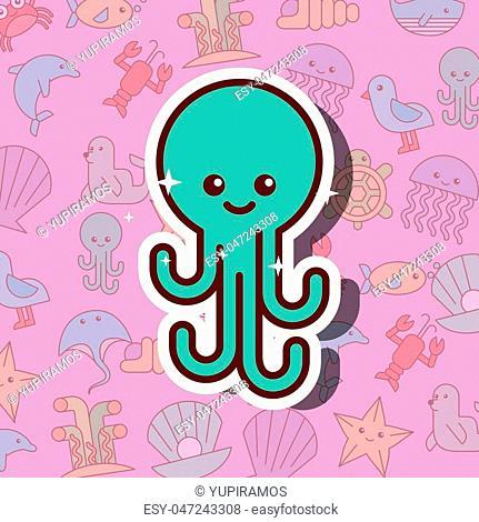 octopus sea life cartoon background vector illustration