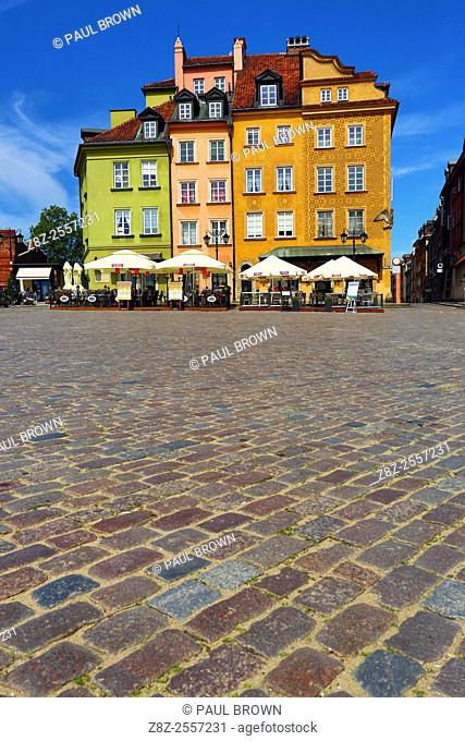 Town houses in Castle Square in Warsaw, Poland