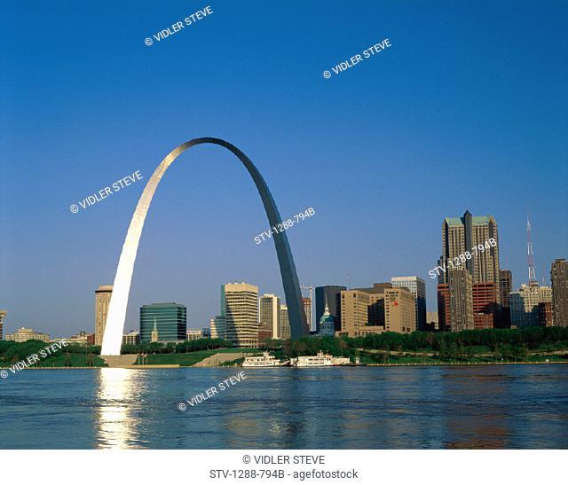 America, Arch, Gateway, Holiday, Landmark, Louis, Mississippi, Missouri, Reflect, Reflecting, River, Skyline, Symbol, Tourism, T