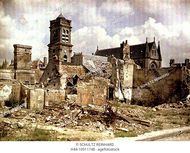 War, Europe, world war I, 1917, Europe, world war, color photo, Autochrome, F. Cuville, western front, department Aisne, France, Soissons, church, ruins