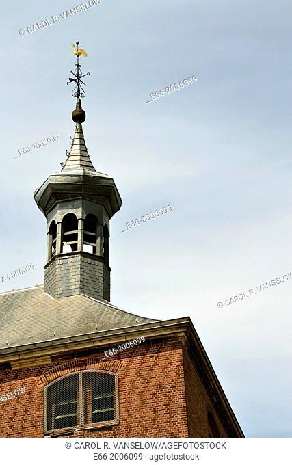 Steeple of church (Nederlandse Gereformeerde Kerk) in Jekerdaal neighbourhood of Maastriccht