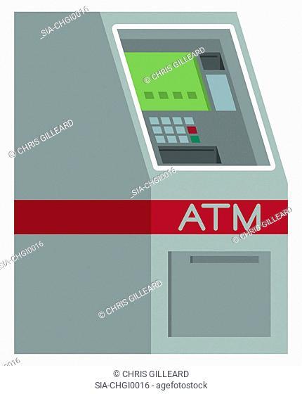 ATM machine on white background