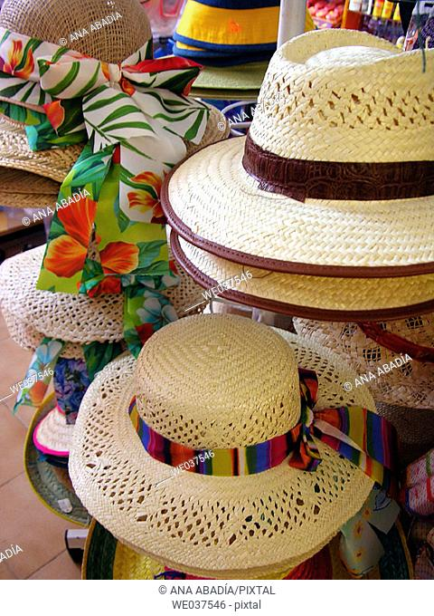 Straw hats for sale. Majorca, Balearic Islands, Spain