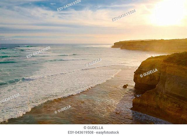 Beach cliffs with big waves