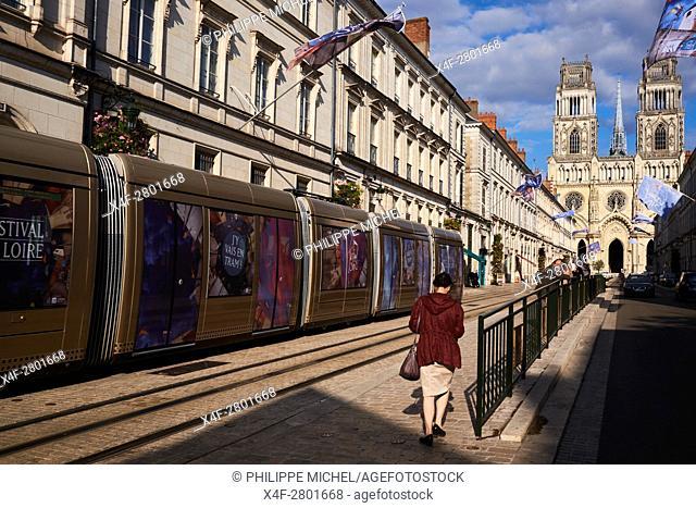 France, Loiret, Orleans, Sainte-Croix cathedral and Jeanne d'Arc street