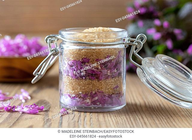 Preparation of homemade herbal syrup from fresh purple dead-nettle flowers and cane sugar