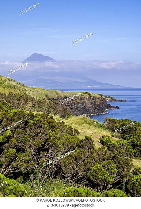 South coast and Pico Mountain, Faial Island, Azores, Portugal