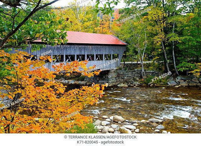 The Albany Covered Bridge near the Kancamagus Highway in the White Mountains of New Hampshire, USA