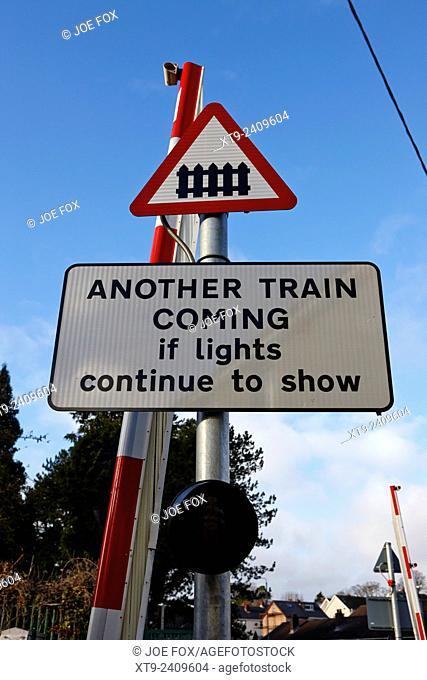 small pedestrian local level crossing warning signs dunmurry belfast uk