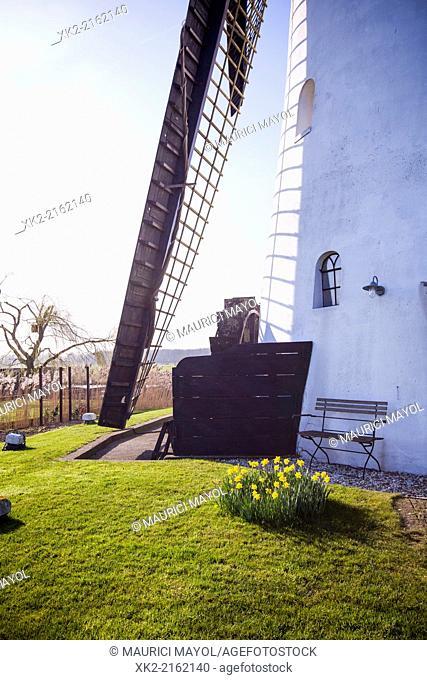 Novelettish bench in a windmill, Kinderdijk, Rotterdam, Nederland
