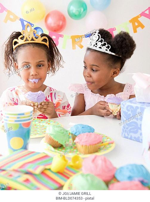 African girls at birthday party