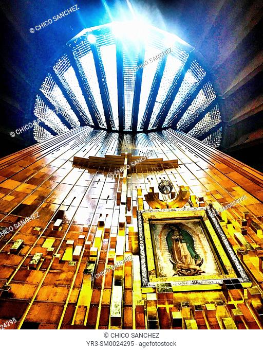 The original image of Our Lady of Guadalupe in the basilica in Mexico City, Mexico