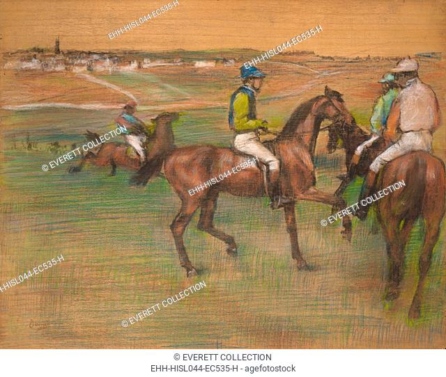 Race Horses, by Edgar Degas, 1885-88, French impressionist drawing, pastel on wood. Degas applied the pastel directly on a wood panel