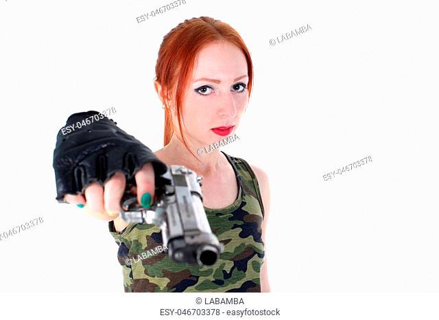 Young beautiful Woman holding Handgun