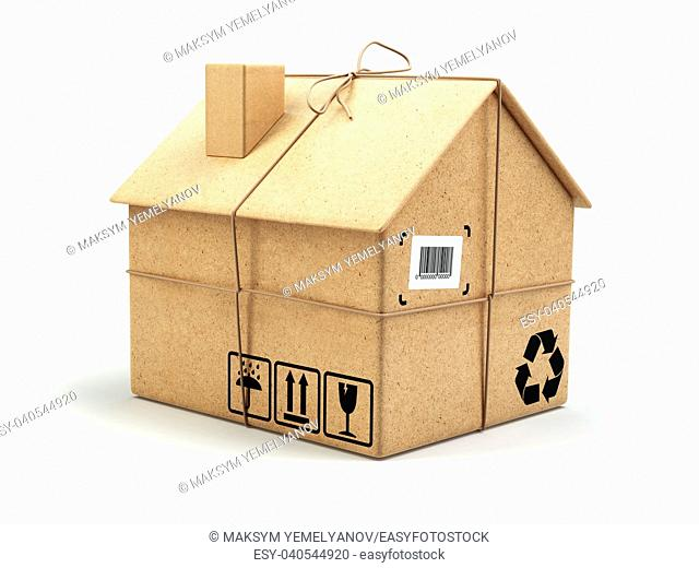 Moving house. Real estate market. Delivery concept. Cardboard box as home isolated on white. 3d