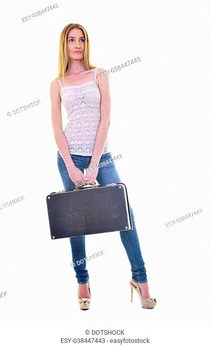 blonde girl with travel bag isolated on white background in studio
