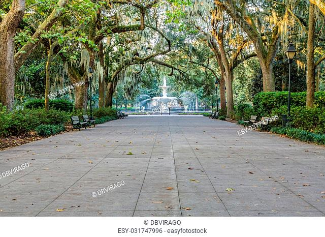 Walkway under southern oaks toward the fountain in Forsyth Park, Savannah, Georgia