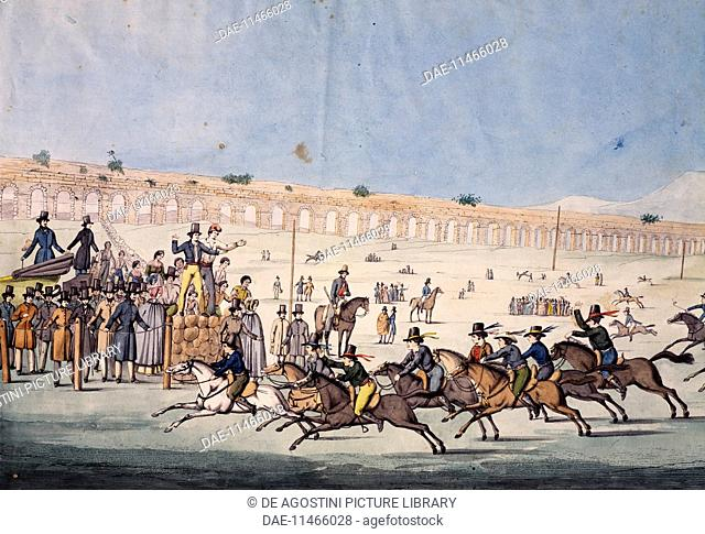 Horse Racing at Capannelle in Rome. Italy, 19th century.  Roma, Museo Di Roma Gabinetto Comunale Delle Stampe