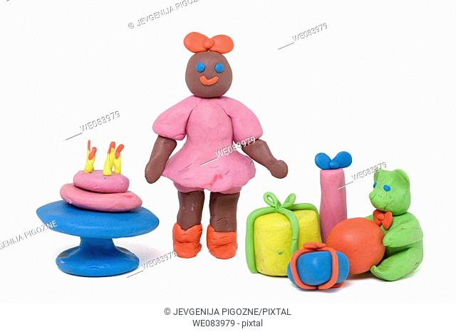 Plasticine figurines. Birthday girl