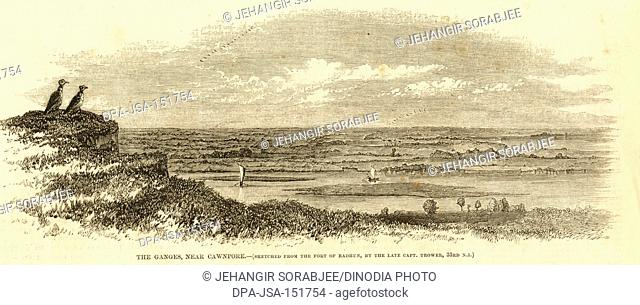 The Ganges near Cawnpore ; kanpur ; Uttar Pradesh ; India