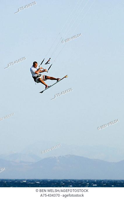kite surfer flying in tarifa