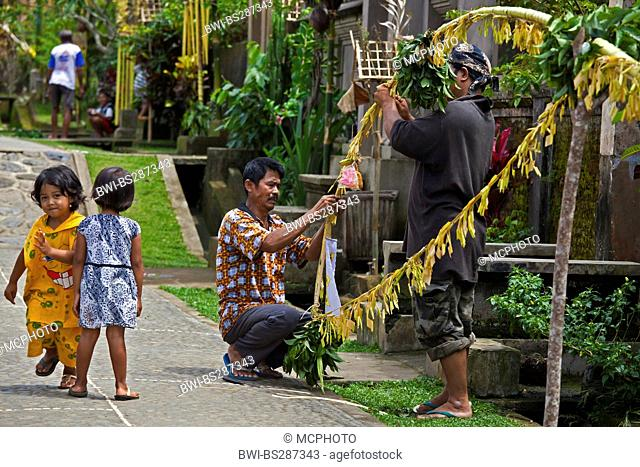 traditional penjors waysides prepared for the Galungan Festival, Indonesia, Bali, Penglipuran